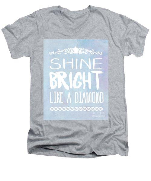 Shine Bright Blue Men's V-Neck T-Shirt by Pati Photography