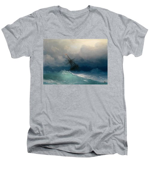 Ship On Stormy Seas Men's V-Neck T-Shirt