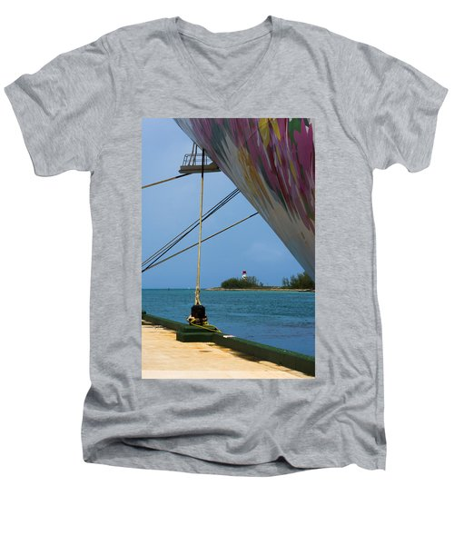 Ship's Ropes And Lighthouse Men's V-Neck T-Shirt