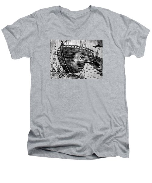 Men's V-Neck T-Shirt featuring the painting Shipwreck by Salman Ravish