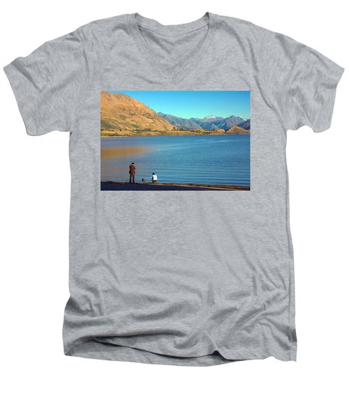 Men's V-Neck T-Shirt featuring the photograph Shooting Ducks On Lake Wanaka by Stuart Litoff