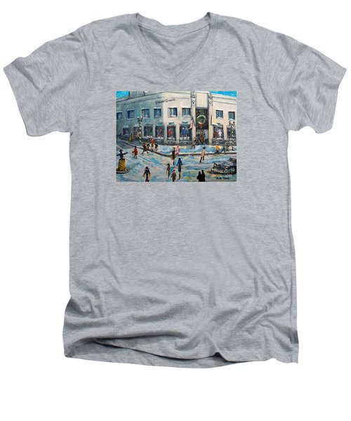 Shopping At Grover Cronin Men's V-Neck T-Shirt by Rita Brown