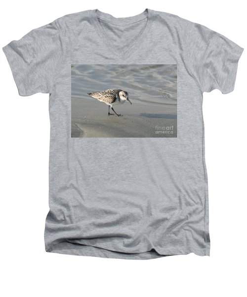 Shore Bird On Ocean Beach Men's V-Neck T-Shirt