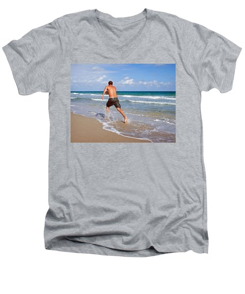 Shore Play Men's V-Neck T-Shirt by Keith Armstrong