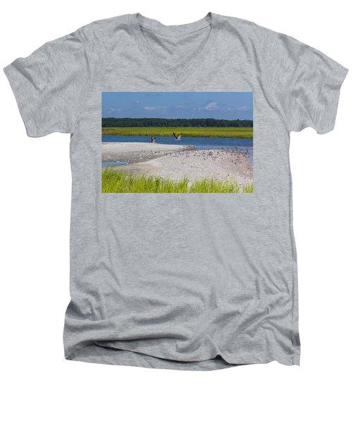 Shorebirds And Marsh Grass Men's V-Neck T-Shirt