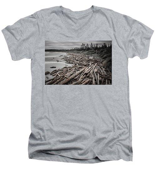 Shoved Ashore Driftwood  Men's V-Neck T-Shirt by Roxy Hurtubise