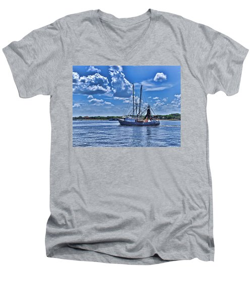 Men's V-Neck T-Shirt featuring the photograph Shrimp Boat Heading To Sea by Ludwig Keck