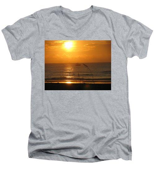 Shrimp Boat Sunrise Men's V-Neck T-Shirt by Ellen Meakin