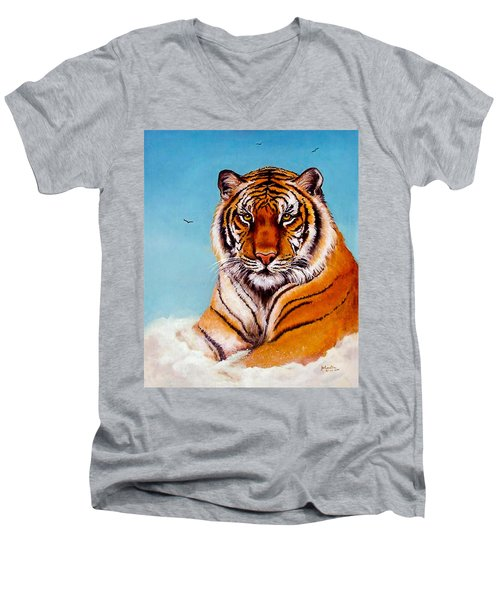 Men's V-Neck T-Shirt featuring the painting Siberian King Tiger by Bob and Nadine Johnston