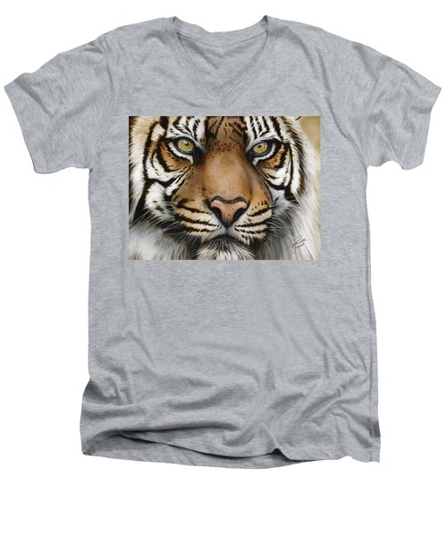 Siberian Tiger Closeup Men's V-Neck T-Shirt