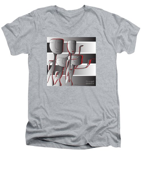 Side By Side Men's V-Neck T-Shirt by Iris Gelbart