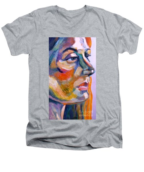 Sideview Of A Woman Men's V-Neck T-Shirt