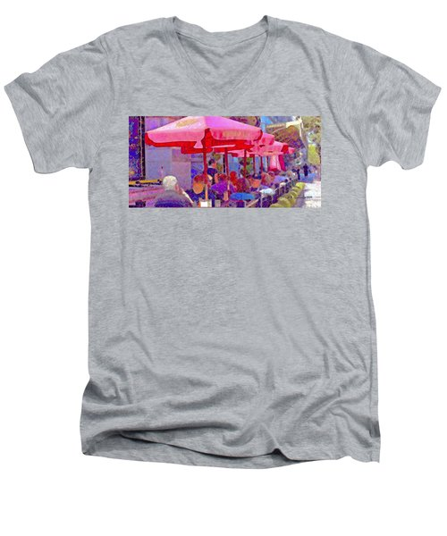 Sidewalk Cafe Digital Painting Men's V-Neck T-Shirt