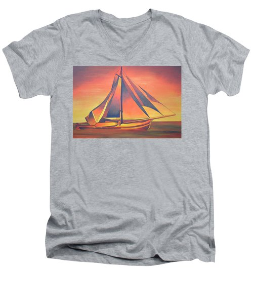 Men's V-Neck T-Shirt featuring the painting Sienna Sails At Sunset by Tracey Harrington-Simpson