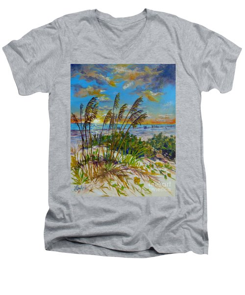 Men's V-Neck T-Shirt featuring the painting Siesta Beach Sunset Dunes by Lou Ann Bagnall