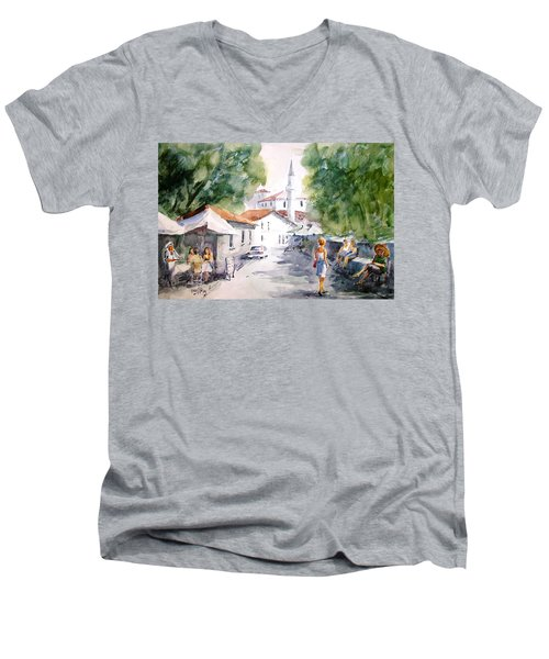 Men's V-Neck T-Shirt featuring the painting Siesta In Bozcaada... by Faruk Koksal