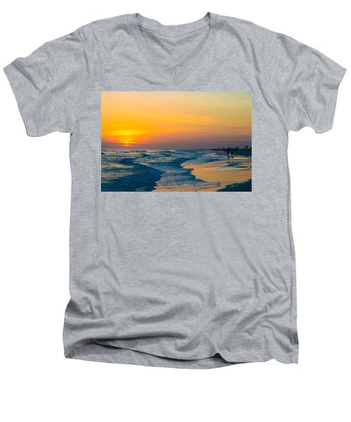Siesta Key Sunset Walk Men's V-Neck T-Shirt by Susan Molnar