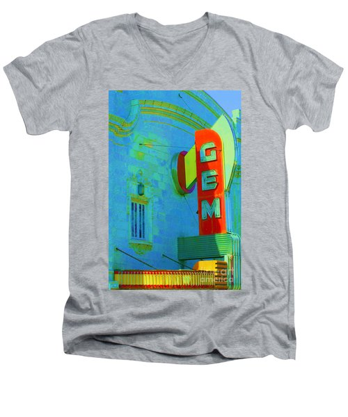 Sign - Gem Theater - Jazz District  Men's V-Neck T-Shirt by Liane Wright