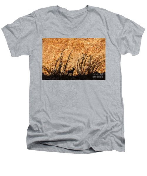 Men's V-Neck T-Shirt featuring the photograph Silhouette Bighorn Sheep by John Wadleigh