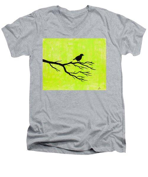Silhouette Green Men's V-Neck T-Shirt by Stefanie Forck