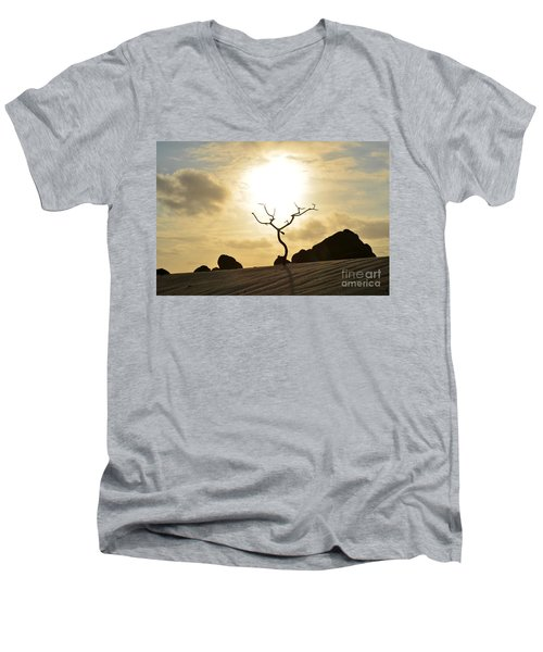 Silhouetted Tree At Dawn In Aruba Men's V-Neck T-Shirt