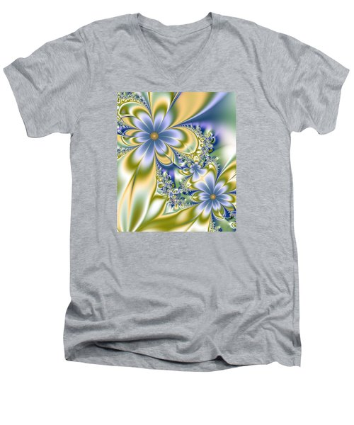 Silky Flowers Men's V-Neck T-Shirt by Svetlana Nikolova