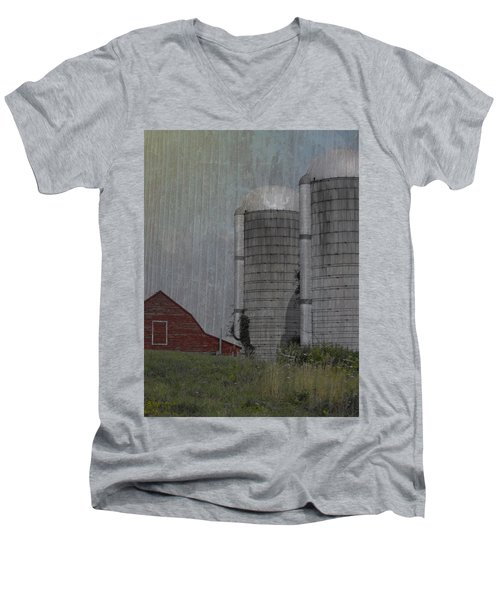 Silo And Barn Men's V-Neck T-Shirt by Photographic Arts And Design Studio