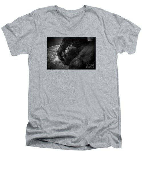 Deep In Thought Of Freer Times Men's V-Neck T-Shirt