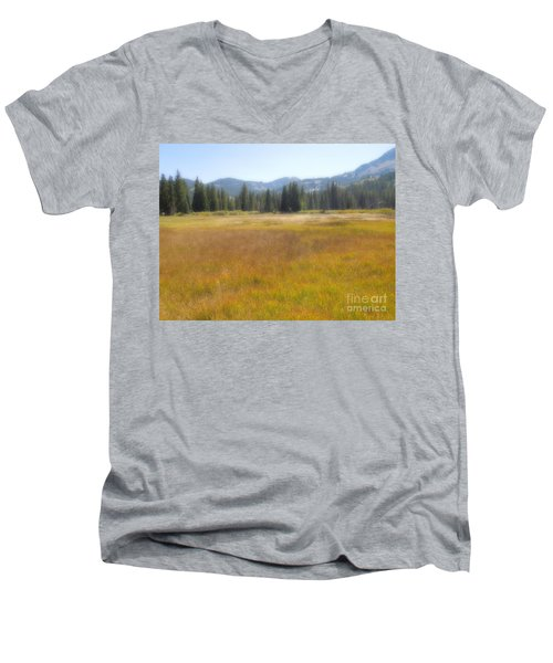 Men's V-Neck T-Shirt featuring the photograph Silver Lake Area Big Cottonwood Canyon Utah by Richard W Linford