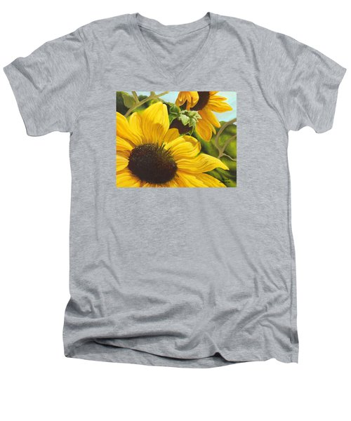 Silver Leaf Sunflowers Men's V-Neck T-Shirt