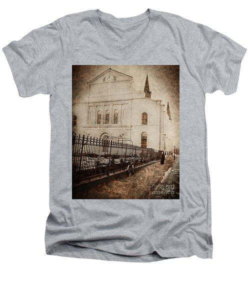 Simpler Times Men's V-Neck T-Shirt by Erika Weber