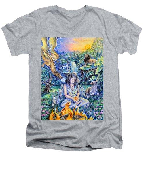 Simply Elemental Men's V-Neck T-Shirt by Gail Butler
