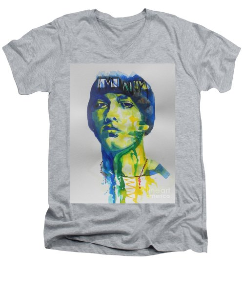 Rapper  Eminem Men's V-Neck T-Shirt
