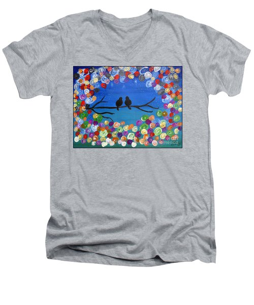 Men's V-Neck T-Shirt featuring the painting Singing To The Stars Tree Bird Art Painting Print by Ella Kaye Dickey