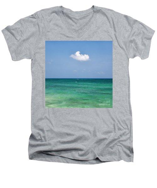 Single Cloud Over The Caribbean Men's V-Neck T-Shirt
