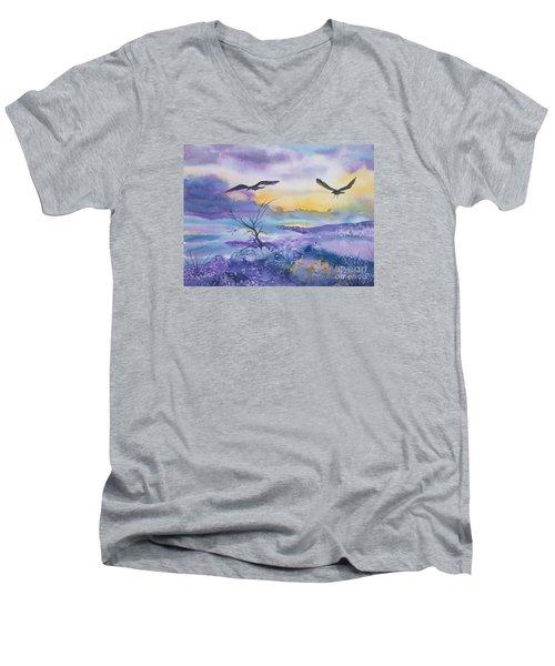 Men's V-Neck T-Shirt featuring the painting Sister Ravens by Ellen Levinson