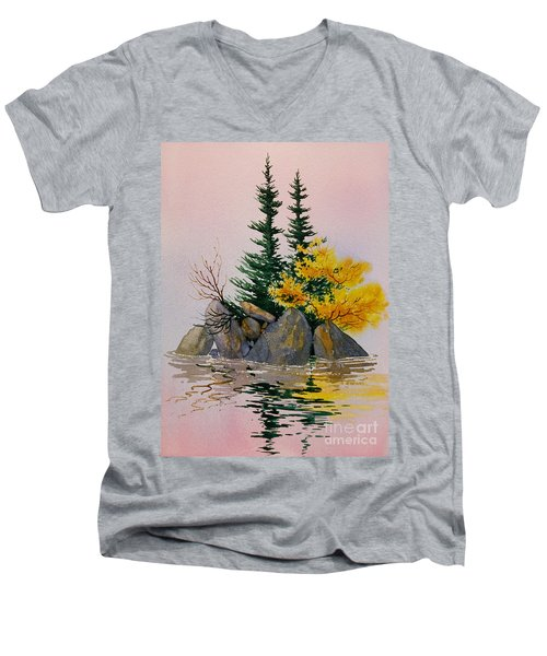 Men's V-Neck T-Shirt featuring the painting Sitka Isle by Teresa Ascone