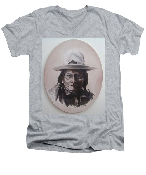 Men's V-Neck T-Shirt featuring the painting Sitting Bull by Michael  TMAD Finney