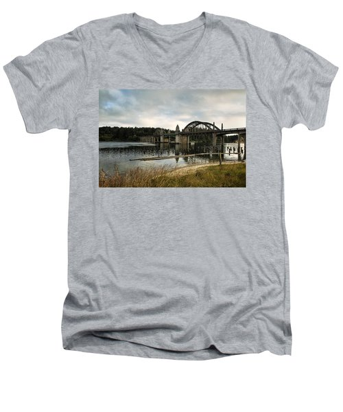 Men's V-Neck T-Shirt featuring the photograph Siuslaw River Bridge by Belinda Greb