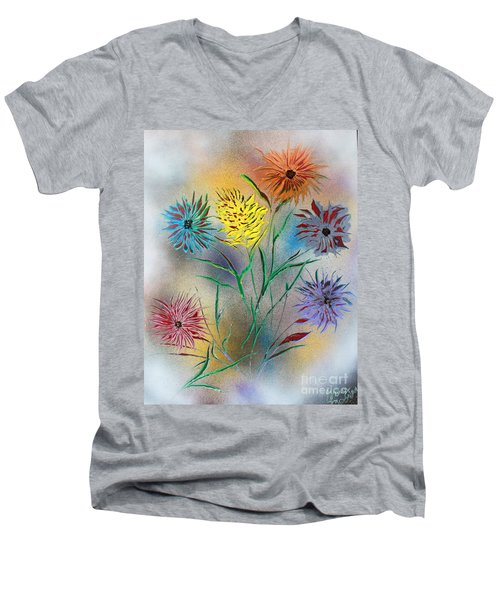 Six Flowers Men's V-Neck T-Shirt by Greg Moores