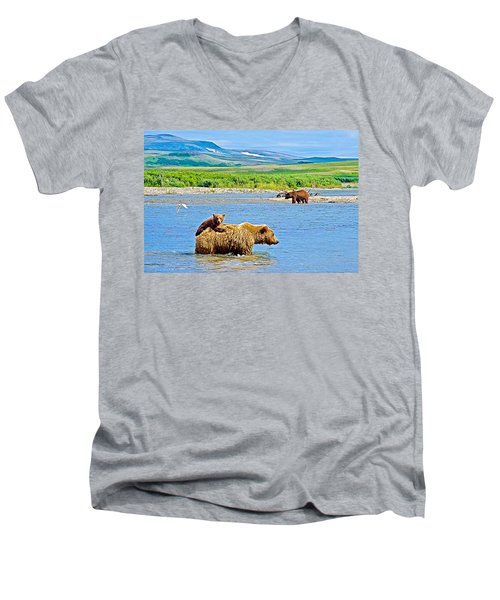 Six-month-old Cub Riding On Mom's Back To Cross Moraine River In Katmai National Preserve-alaska Men's V-Neck T-Shirt