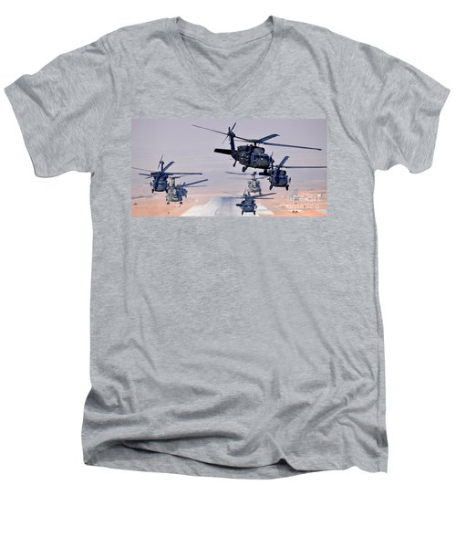 Six Uh-60l Black Hawks And Two Ch-47f Chinooks Men's V-Neck T-Shirt