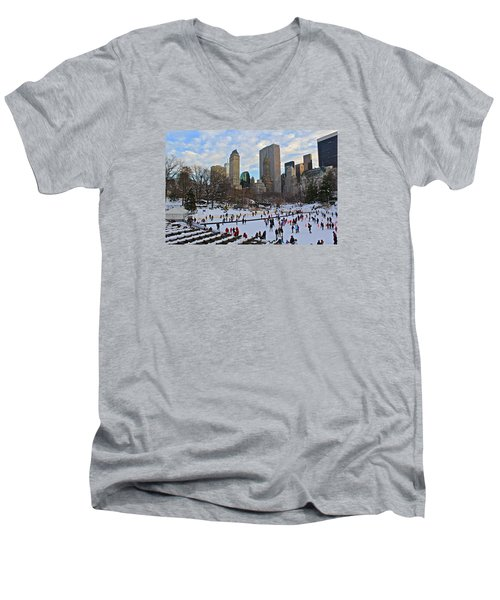 Skating In Central Park Men's V-Neck T-Shirt