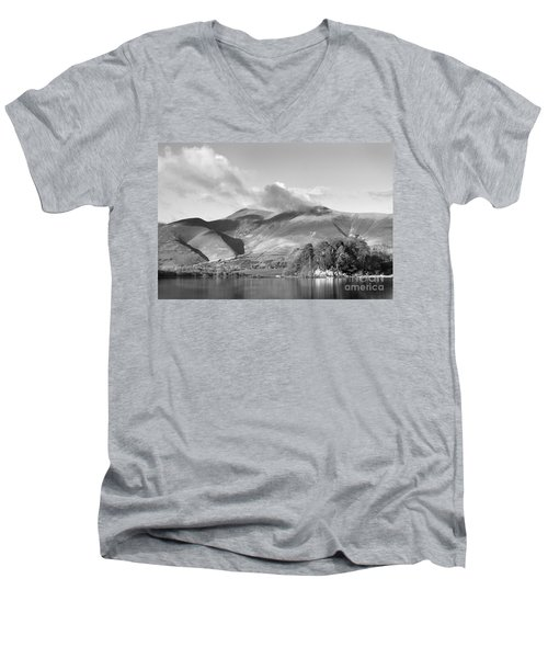 Skiddaw And Friars Crag Mountainscape Men's V-Neck T-Shirt