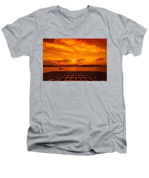 Skies Ablaze - One Men's V-Neck T-Shirt