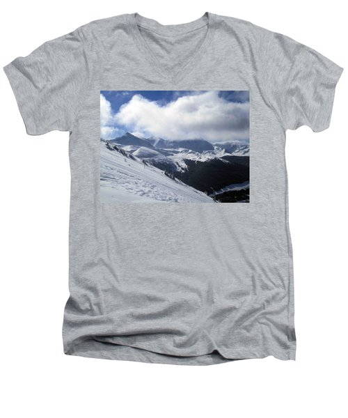Men's V-Neck T-Shirt featuring the photograph Skiing With A View by Fiona Kennard