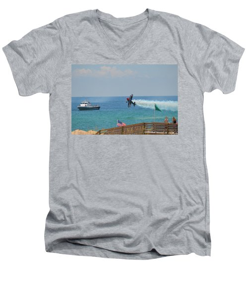 Men's V-Neck T-Shirt featuring the photograph Skip Stewart Extreme Low-level Practice by Jeff at JSJ Photography