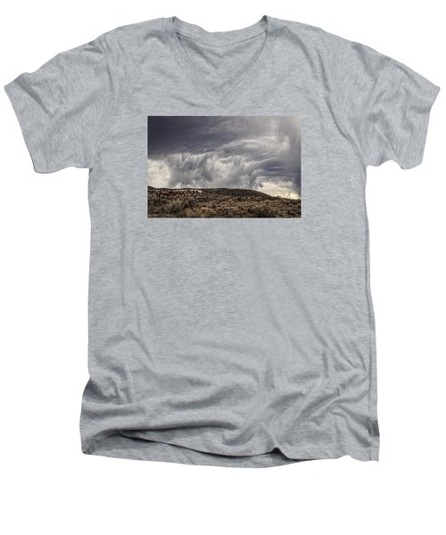 Skirting The Storm Men's V-Neck T-Shirt by Joan Davis