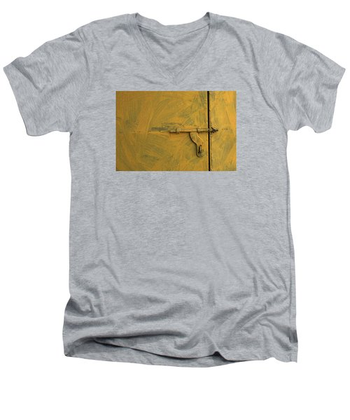 Men's V-Neck T-Shirt featuring the photograph Skc 0047 The Door Latch by Sunil Kapadia