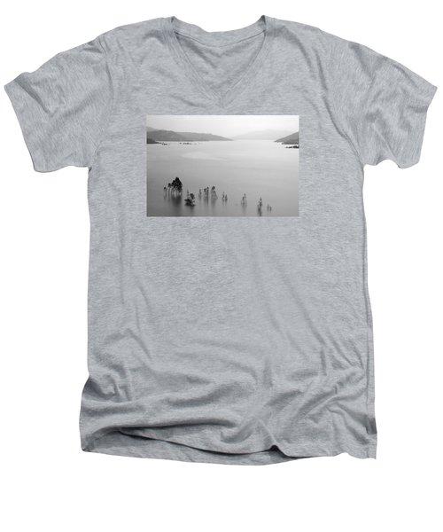 Men's V-Neck T-Shirt featuring the photograph Skc 0055 A Hazy Riverscape by Sunil Kapadia
